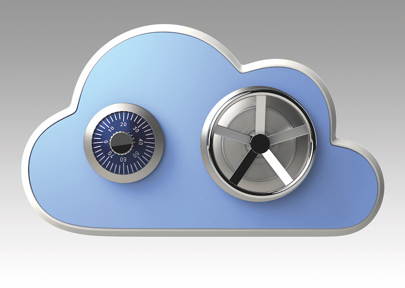 A cloud with safe and lock
