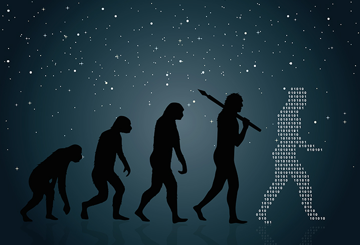 HUman evolution from monkey to digital man
