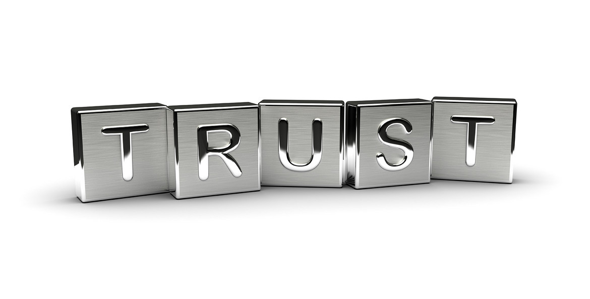 Blocks spelling the word trust