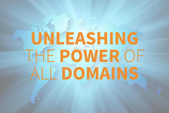 "World map with words ""unleashing the power of all domains"""