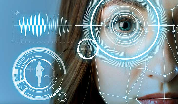 Womans face with eye scan and biometric data