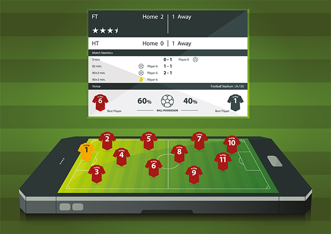 Foortball Manager Game on Mobile PHone